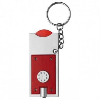 Schlüsselleuchte mit Einkaufswagenchip, Rot inkl. 1-farbigem Druck rot inkl. 1-farbigem Druck