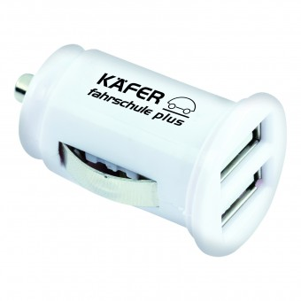 Double-Car-Charger, Weiß inkl. 1-farbigem Druck weiß inkl. 1-farbigem Druck auf 1 Position